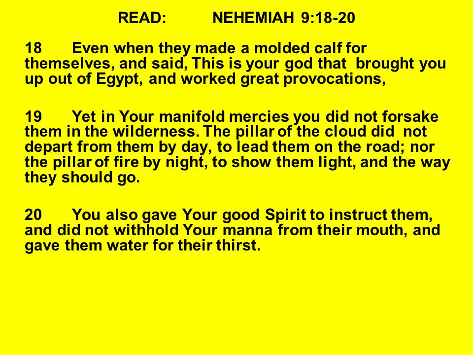 READ:NEHEMIAH 9:18-20 18Even when they made a molded calf for themselves, and said, This is your god that brought you up out of Egypt, and worked great provocations, 19Yet in Your manifold mercies you did not forsake them in the wilderness.
