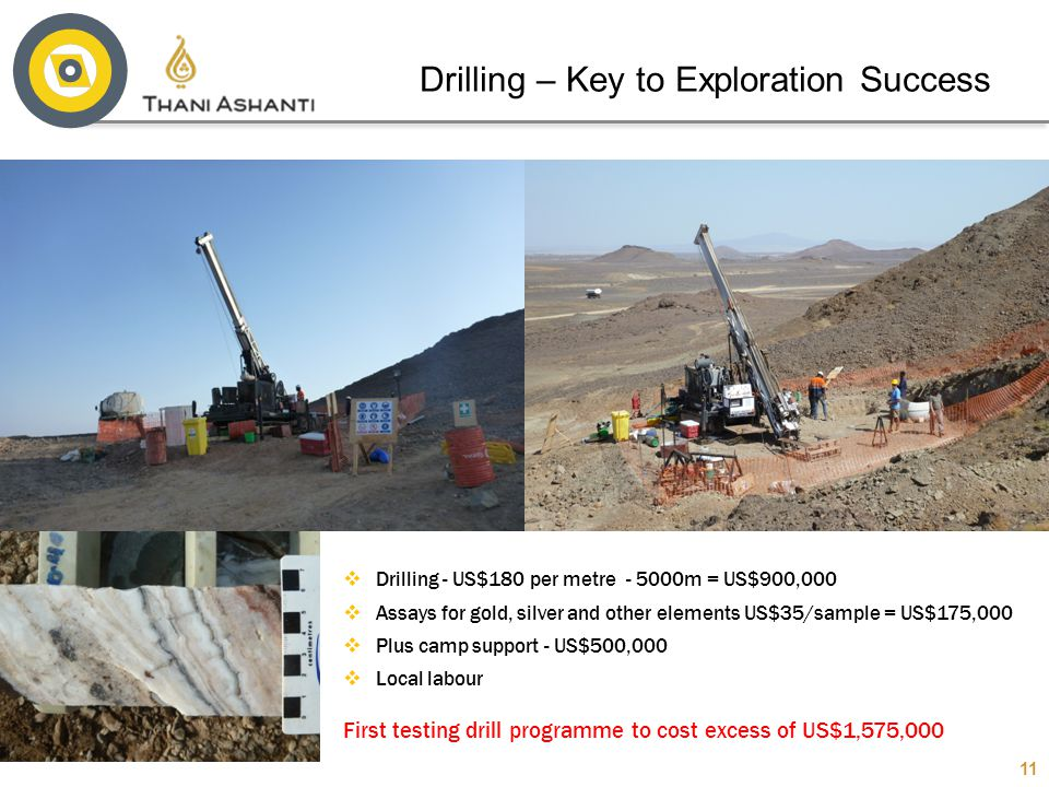 11  Drilling - US$180 per metre - 5000m = US$900,000  Assays for gold, silver and other elements US$35/sample = US$175,000  Plus camp support - US$