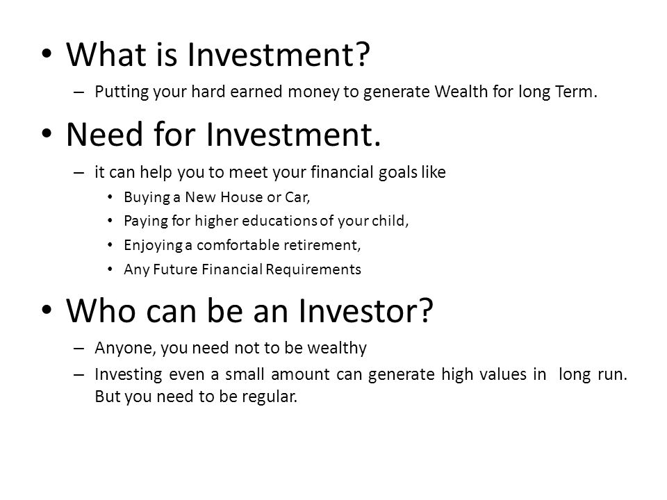 COMPARING VARIOUS INVESTMENTS