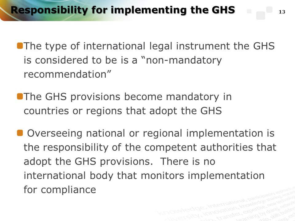 Responsibility for implementing the GHS The type of international legal instrument the GHS is considered to be is a non-mandatory recommendation The GHS provisions become mandatory in countries or regions that adopt the GHS Overseeing national or regional implementation is the responsibility of the competent authorities that adopt the GHS provisions.