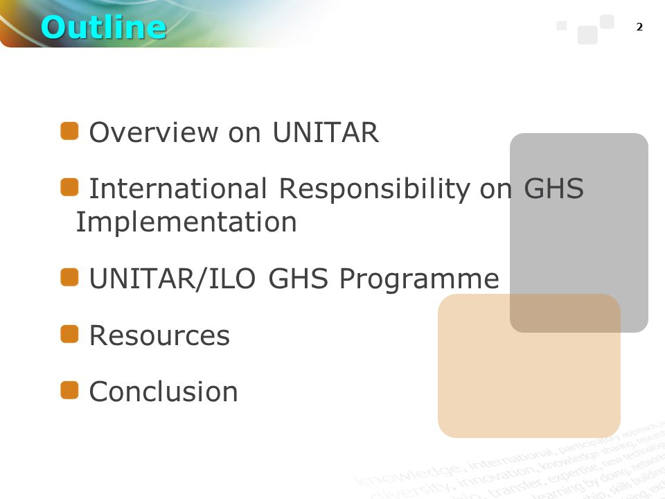 2 Overview on UNITAR International Responsibility on GHS Implementation UNITAR/ILO GHS Programme Resources Conclusion Outline