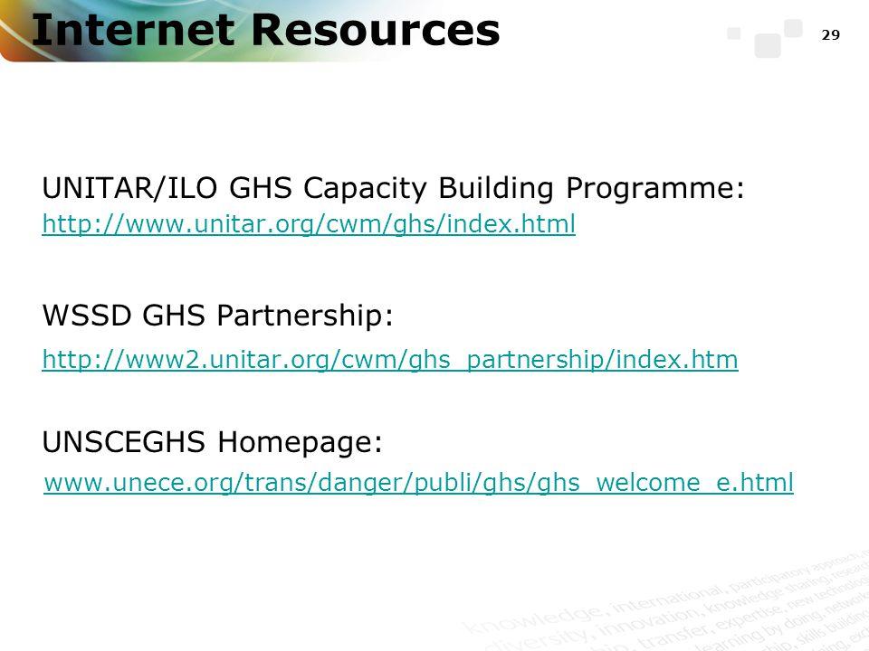 Internet Resources UNITAR/ILO GHS Capacity Building Programme: http://www.unitar.org/cwm/ghs/index.html WSSD GHS Partnership: http://www2.unitar.org/cwm/ghs_partnership/index.htm UNSCEGHS Homepage: www.unece.org/trans/danger/publi/ghs/ghs_welcome_e.html 29