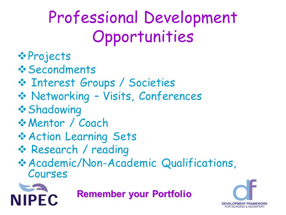 Professional Development Opportunities  Projects  Secondments  Interest Groups / Societies  Networking – Visits, Conferences  Shadowing  Mentor / Coach  Action Learning Sets  Research / reading  Academic/Non-Academic Qualifications, Courses Remember your Portfolio