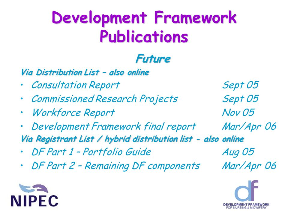 Development Framework Publications Future Via Distribution List – also online Consultation ReportSept 05 Commissioned Research ProjectsSept 05 Workfor