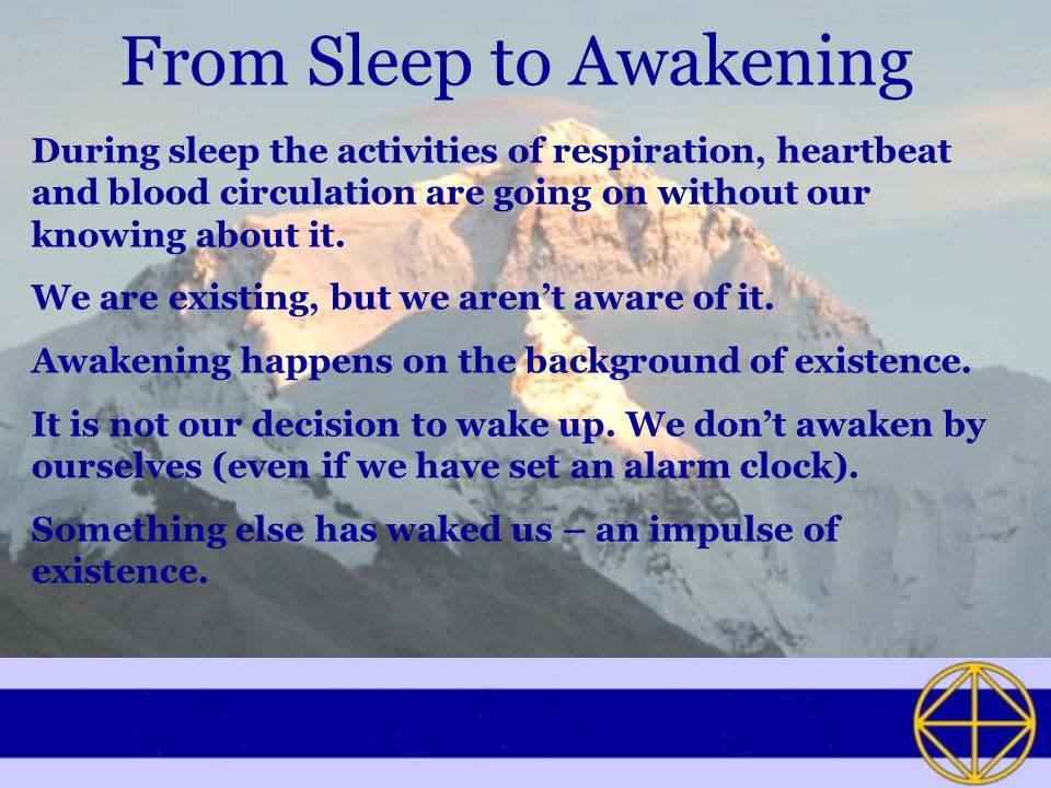 From Sleep to Awakening During sleep the activities of respiration, heartbeat and blood circulation are going on without our knowing about it.