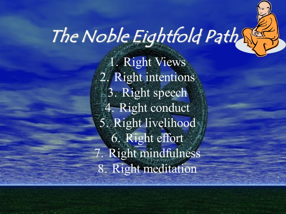 The Noble Eightfold Path 1.Right Views 2.Right intentions 3.Right speech 4.Right conduct 5.Right livelihood 6.Right effort 7.Right mindfulness 8.Right meditation