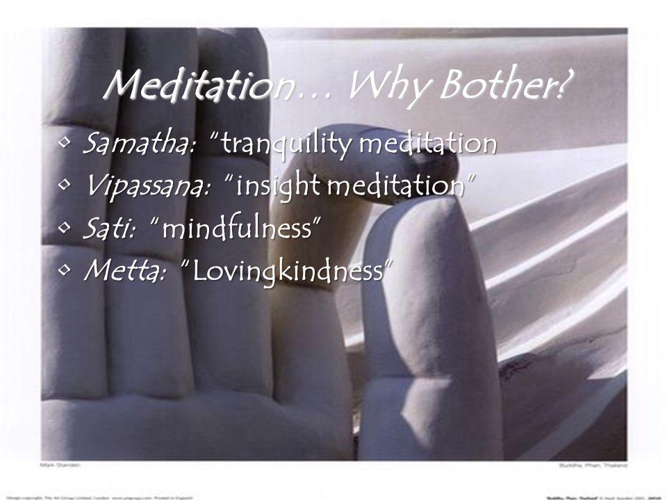 "Meditation… Why Bother? Samatha: ""tranquility meditationSamatha: ""tranquility meditation Vipassana: ""insight meditation""Vipassana: ""insight meditation"