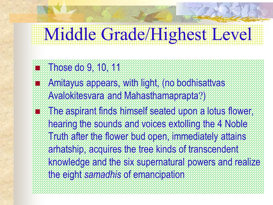 Middle Grade/Highest Level Those do 9, 10, 11 Amitayus appears, with light, (no bodhisattvas Avalokitesvara and Mahasthamaprapta .