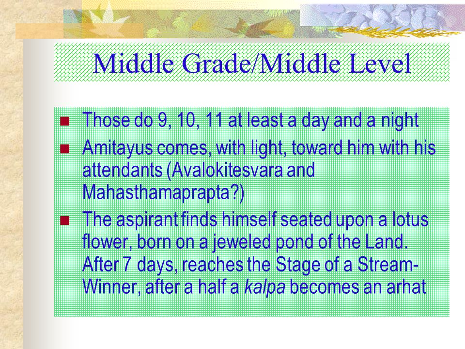 Middle Grade/Middle Level Those do 9, 10, 11 at least a day and a night Amitayus comes, with light, toward him with his attendants (Avalokitesvara and Mahasthamaprapta?) The aspirant finds himself seated upon a lotus flower, born on a jeweled pond of the Land.
