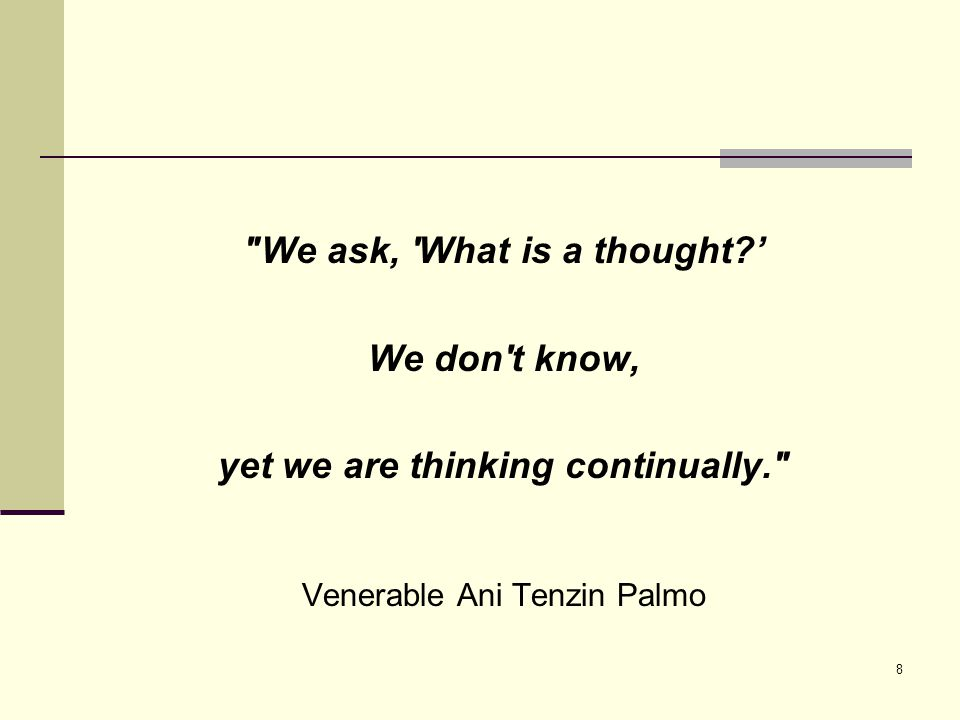 8 We ask, What is a thought?' We don t know, yet we are thinking continually. Venerable Ani Tenzin Palmo