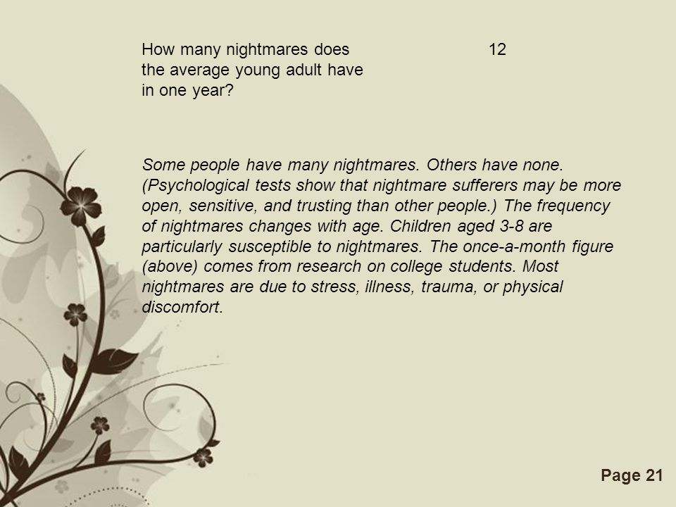 Free Powerpoint TemplatesPage 21 How many nightmares does the average young adult have in one year? 12 Some people have many nightmares. Others have n