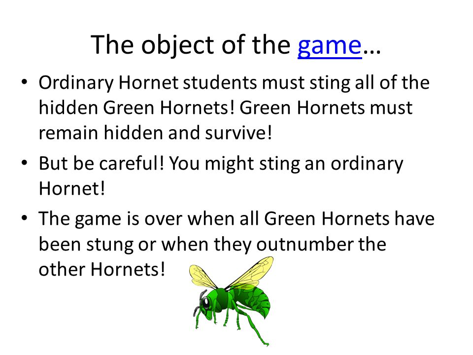 The object of the game…game Ordinary Hornet students must sting all of the hidden Green Hornets.