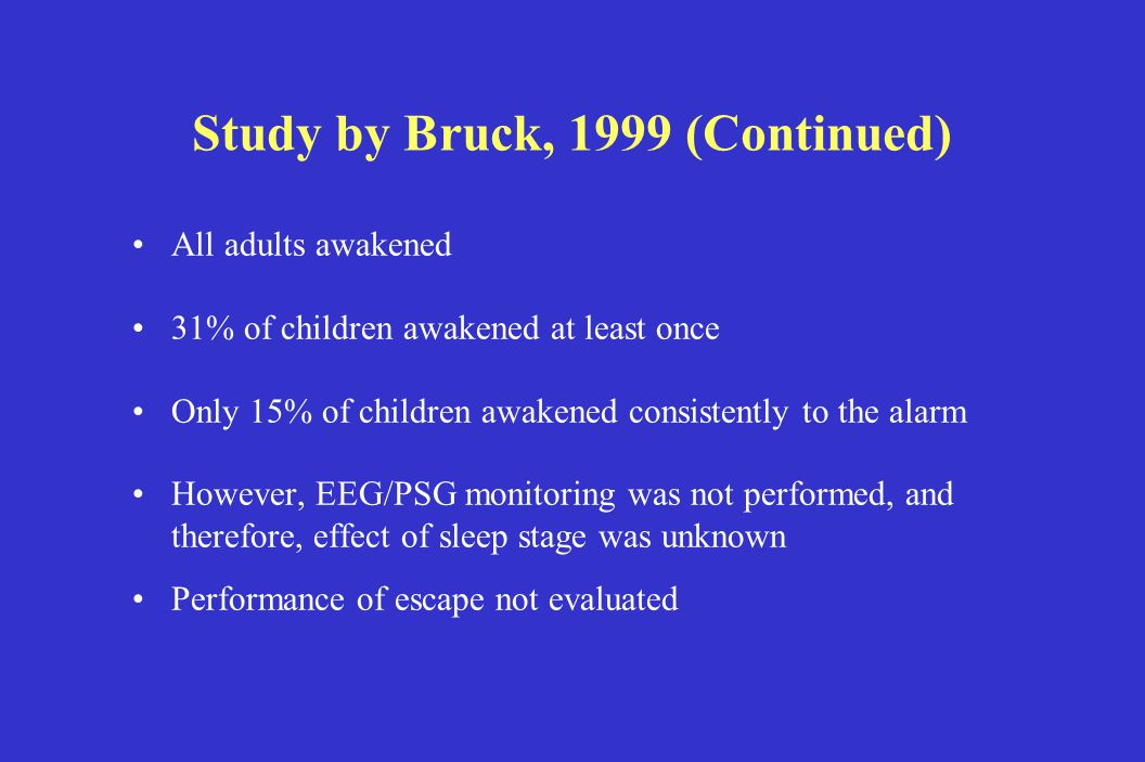 Study by Bruck, 1999 (Continued) All adults awakened 31% of children awakened at least once Only 15% of children awakened consistently to the alarm However, EEG/PSG monitoring was not performed, and therefore, effect of sleep stage was unknown Performance of escape not evaluated
