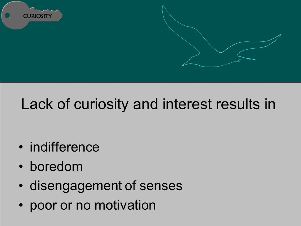 Lack of curiosity and interest results in indifference boredom disengagement of senses poor or no motivation