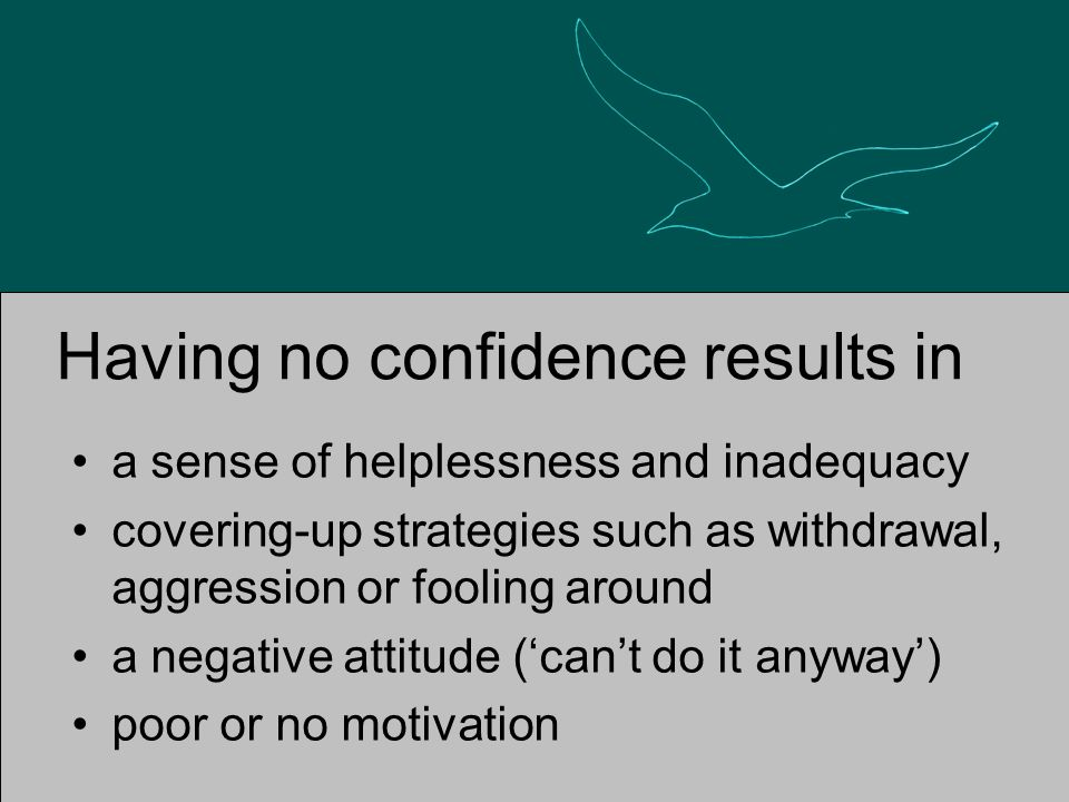 Having no confidence results in a sense of helplessness and inadequacy covering-up strategies such as withdrawal, aggression or fooling around a negative attitude ('can't do it anyway') poor or no motivation