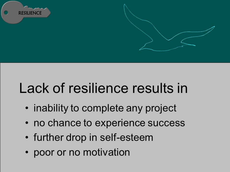 Lack of resilience results in inability to complete any project no chance to experience success further drop in self-esteem poor or no motivation