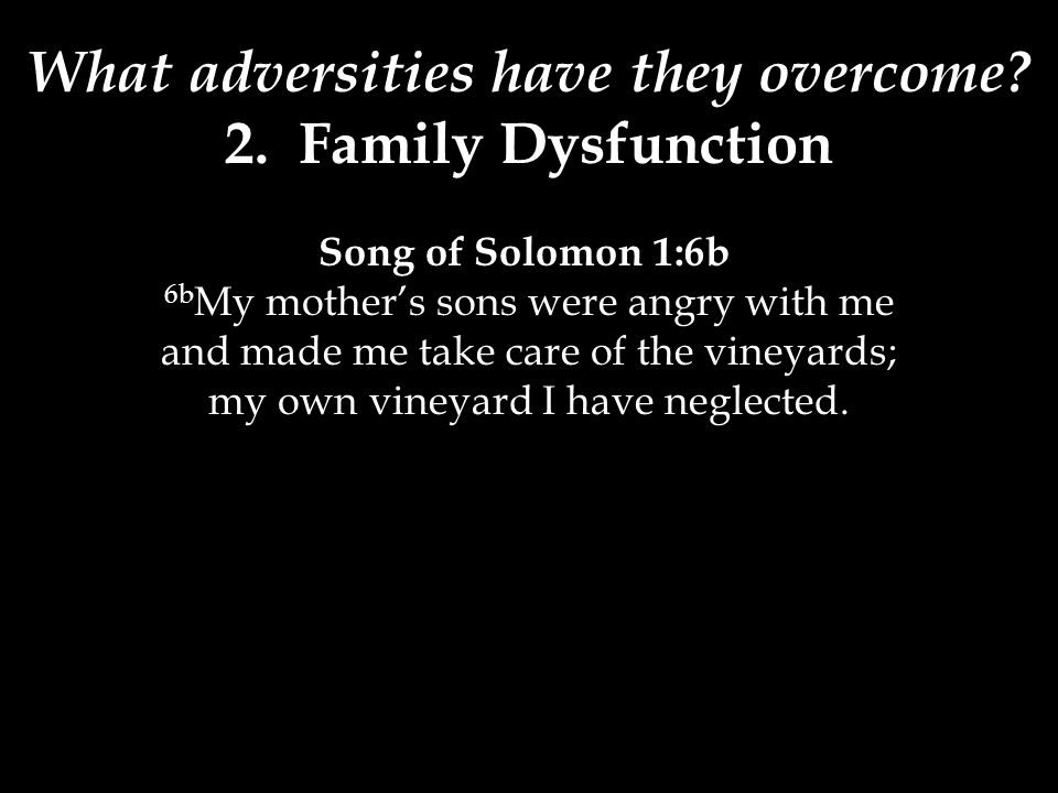 What adversities have they overcome? 2. Family Dysfunction Song of Solomon 1:6b 6b My mother's sons were angry with me and made me take care of the vi