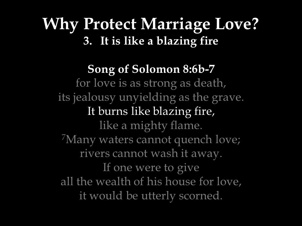 Why Protect Marriage Love? 3.It is like a blazing fire Song of Solomon 8:6b-7 for love is as strong as death, its jealousy unyielding as the grave. It