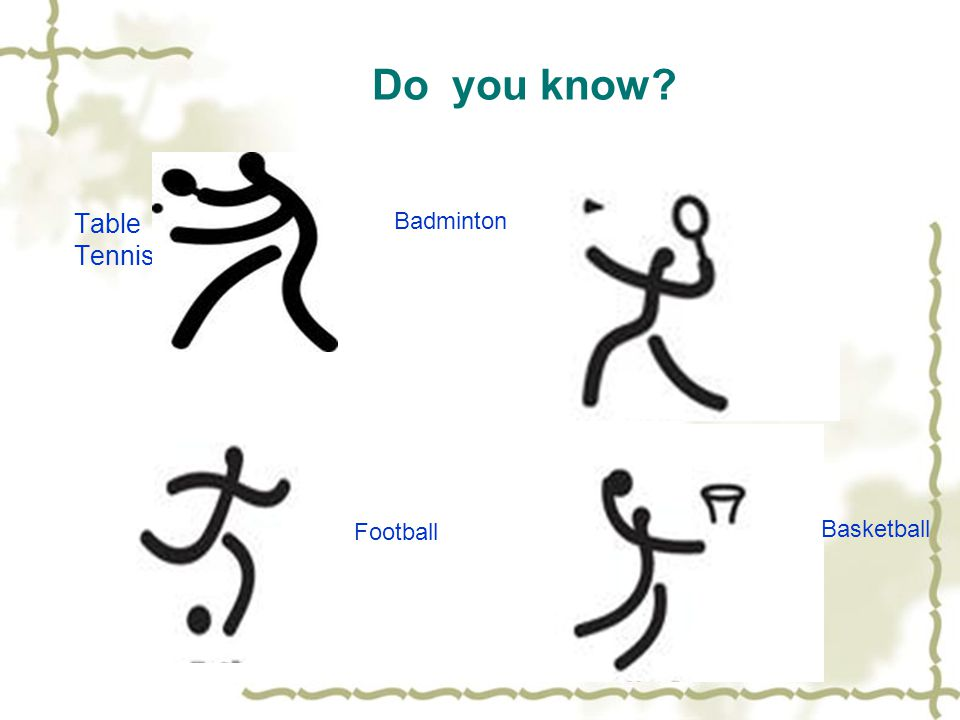 Do you know? Table Tennis Badminton Football Basketball