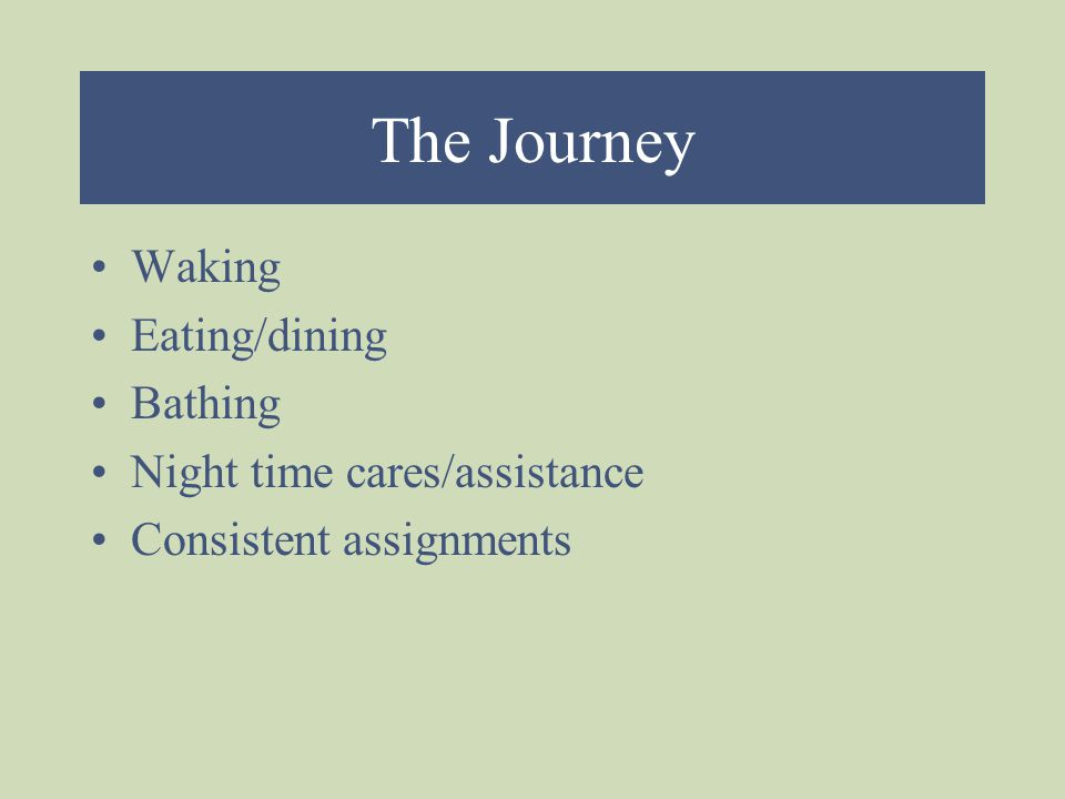 The Journey Waking Eating/dining Bathing Night time cares/assistance Consistent assignments