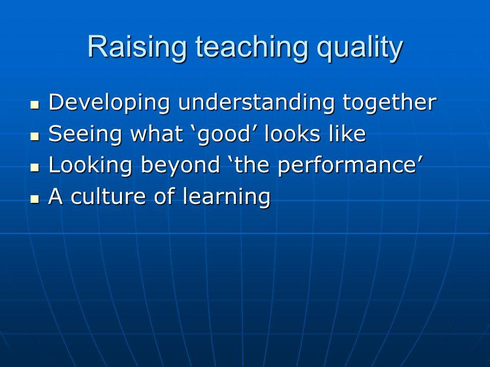 Raising teaching quality Developing understanding together Developing understanding together Seeing what 'good' looks like Seeing what 'good' looks li