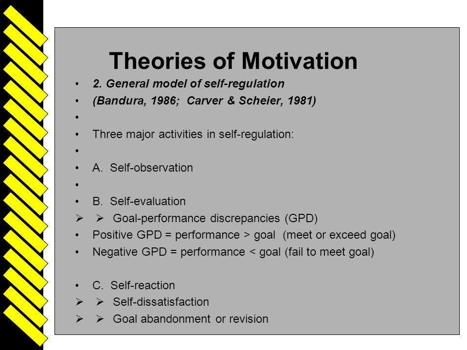 Driven 24 Theories of Motivation 2. General model of self-regulation (Bandura, 1986; Carver & Scheier, 1981) Three major activities in self-regulation