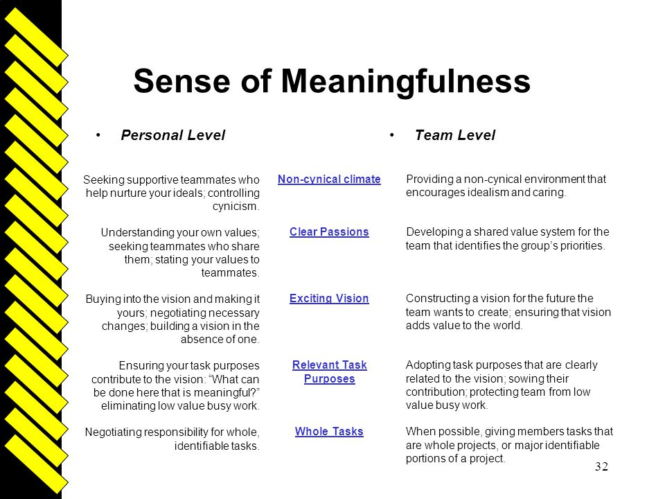 Driven 32 Sense of Meaningfulness Personal LevelTeam Level Non-cynical climate Clear Passions Exciting Vision Relevant Task Purposes Whole Tasks Provi