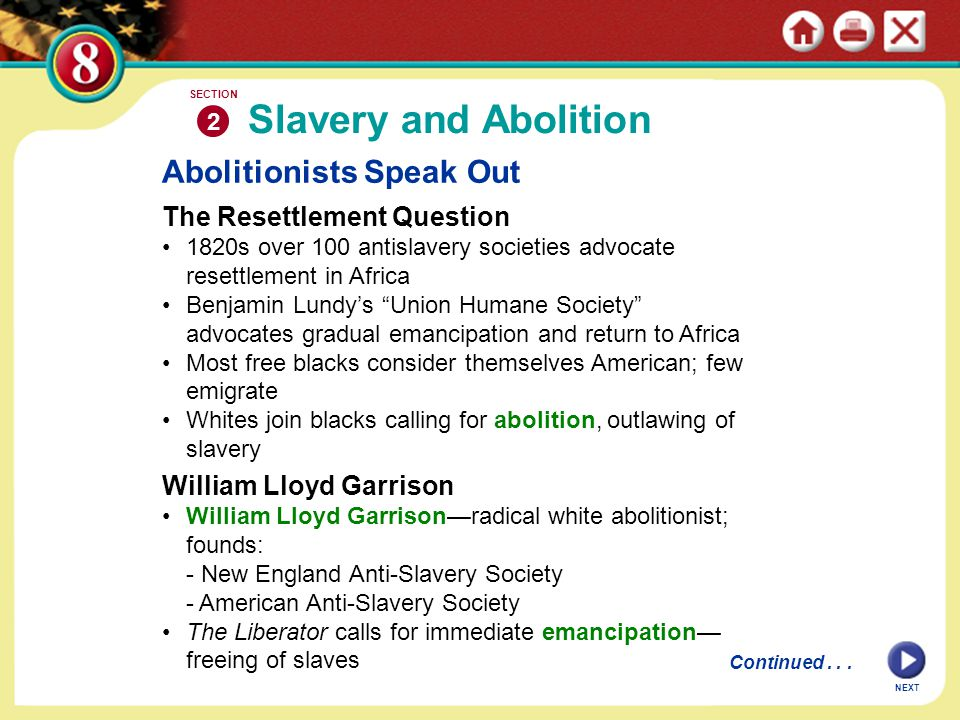 "Abolitionists Speak Out The Resettlement Question 1820s over 100 antislavery societies advocate resettlement in Africa Benjamin Lundy's ""Union Humane"
