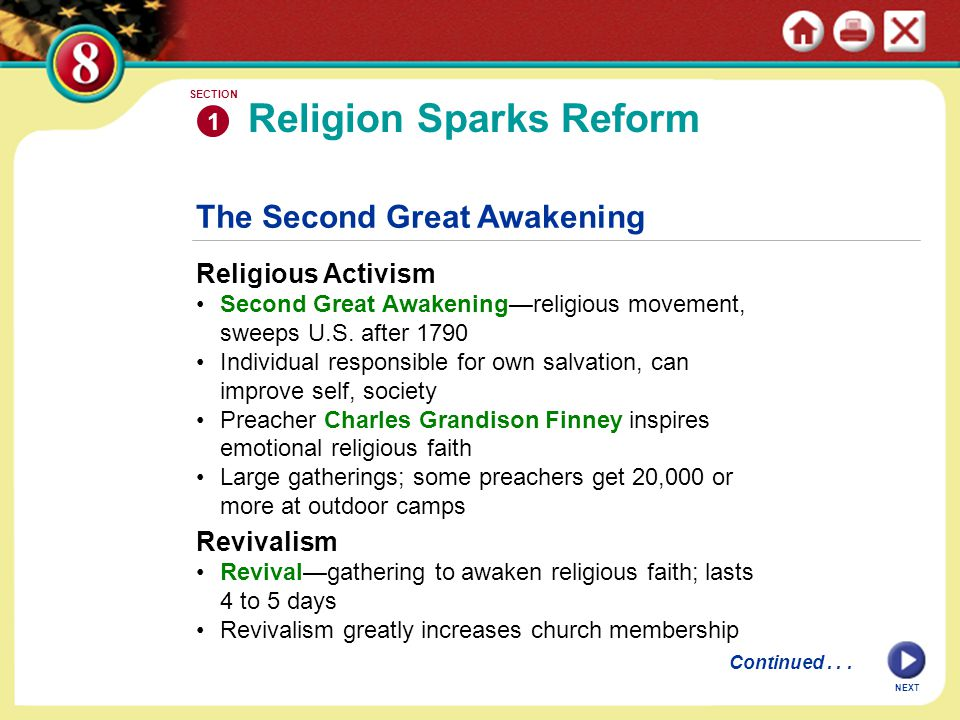 The Second Great Awakening Religious Activism Second Great Awakening—religious movement, sweeps U.S. after 1790 Individual responsible for own salvati
