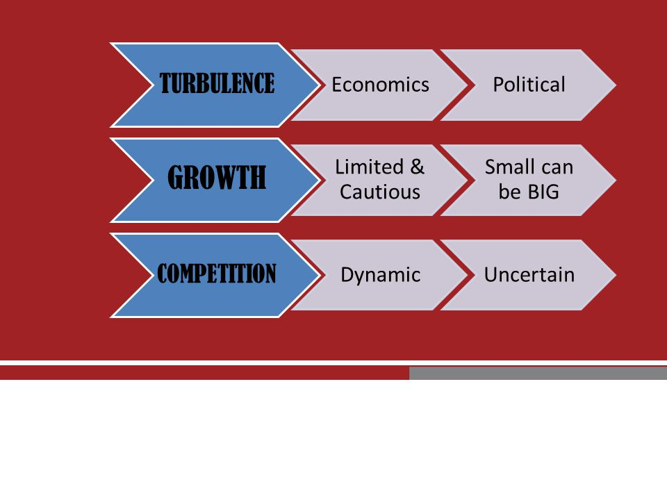 TURBULENCE EconomicsPolitical GROWTH Limited & Cautious Small can be BIG COMPETITION DynamicUncertain