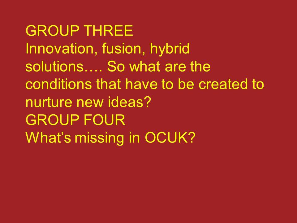 GROUP THREE Innovation, fusion, hybrid solutions….