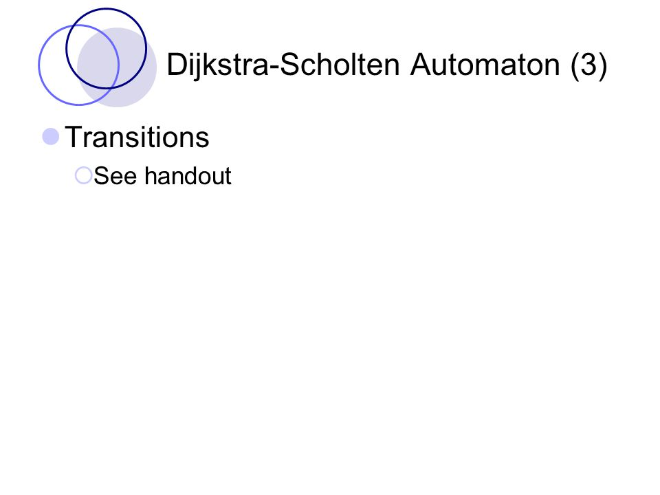 Dijkstra-Scholten Automaton (3) Transitions  See handout