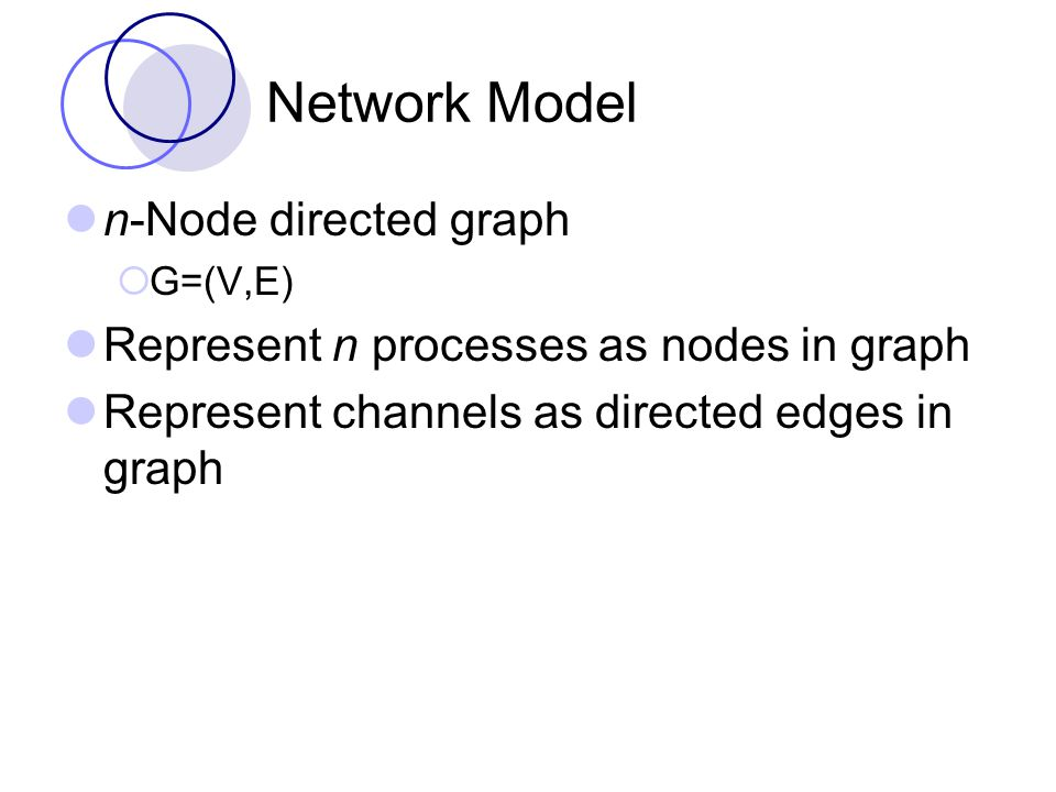 Send/Receive Model Processes  Input actions Receive(m) i,j  Output actions Send(m) i,j Channels  Input actions Send(m) i,j  Output actions Receive(m) i,j Each process associated with a node and each channel associated with an edge in the graph G is modeled as an I/O automaton