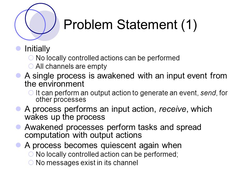 Problem Statement (2) Given the initial state of the network as described, If a process A i at node n i receives an input event, and after some time a global quiescent state is reached, then a special done i output should be performed at node i