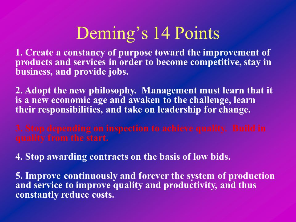 Deming's 14 Points 1.