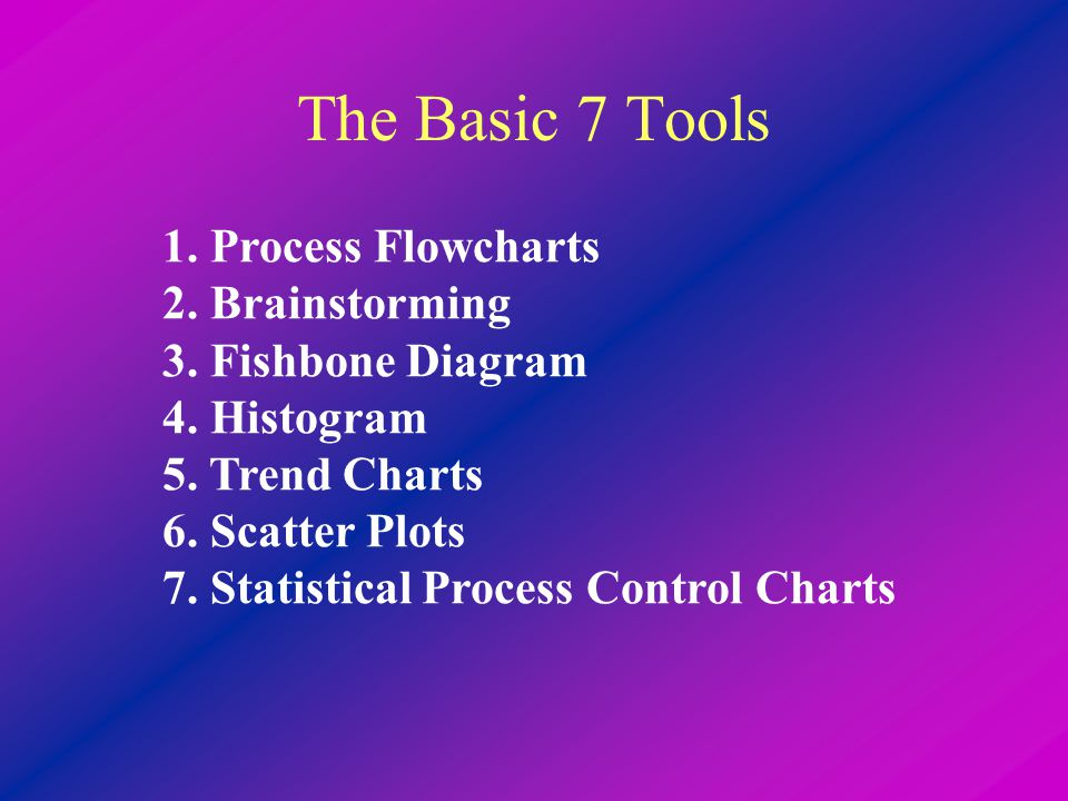 The Basic 7 Tools 1. Process Flowcharts 2. Brainstorming 3.
