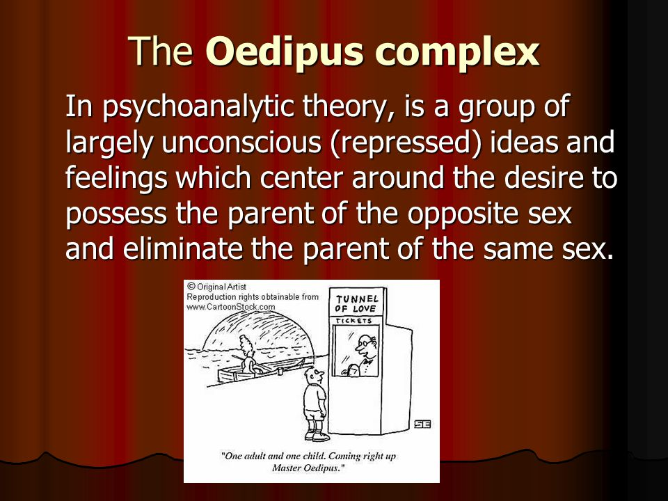 The Oedipus complex In psychoanalytic theory, is a group of largely unconscious (repressed) ideas and feelings which center around the desire to possess the parent of the opposite sex and eliminate the parent of the same sex.