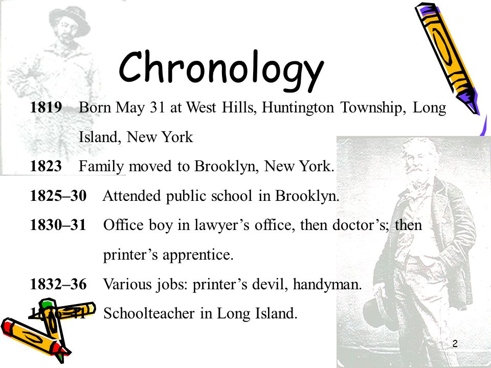 2 Chronology 1819 Born May 31 at West Hills, Huntington Township, Long Island, New York 1823 Family moved to Brooklyn, New York. 1825–30 Attended publ