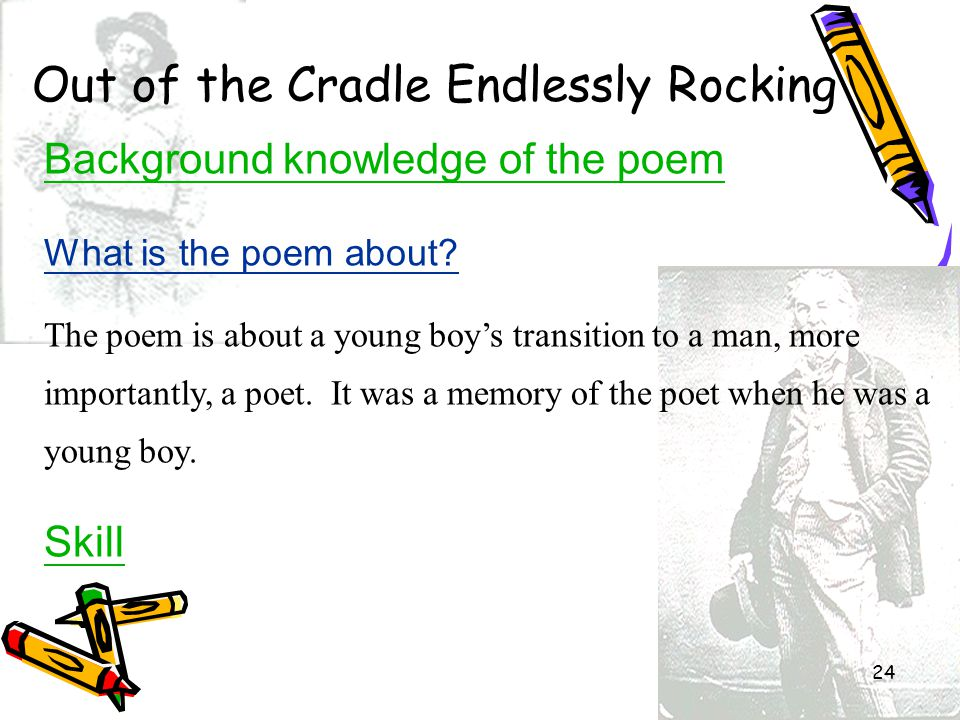 24 Out of the Cradle Endlessly Rocking Background knowledge of the poem What is the poem about? The poem is about a young boy's transition to a man, m