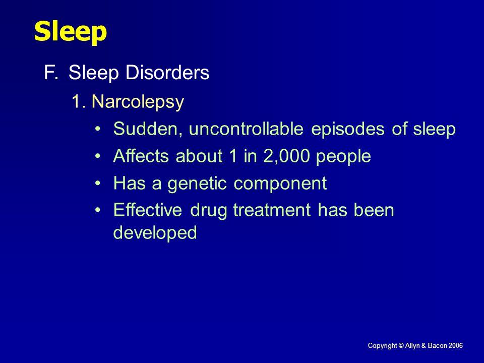 Copyright © Allyn & Bacon 2006 Sleep F.Sleep Disorders 1.