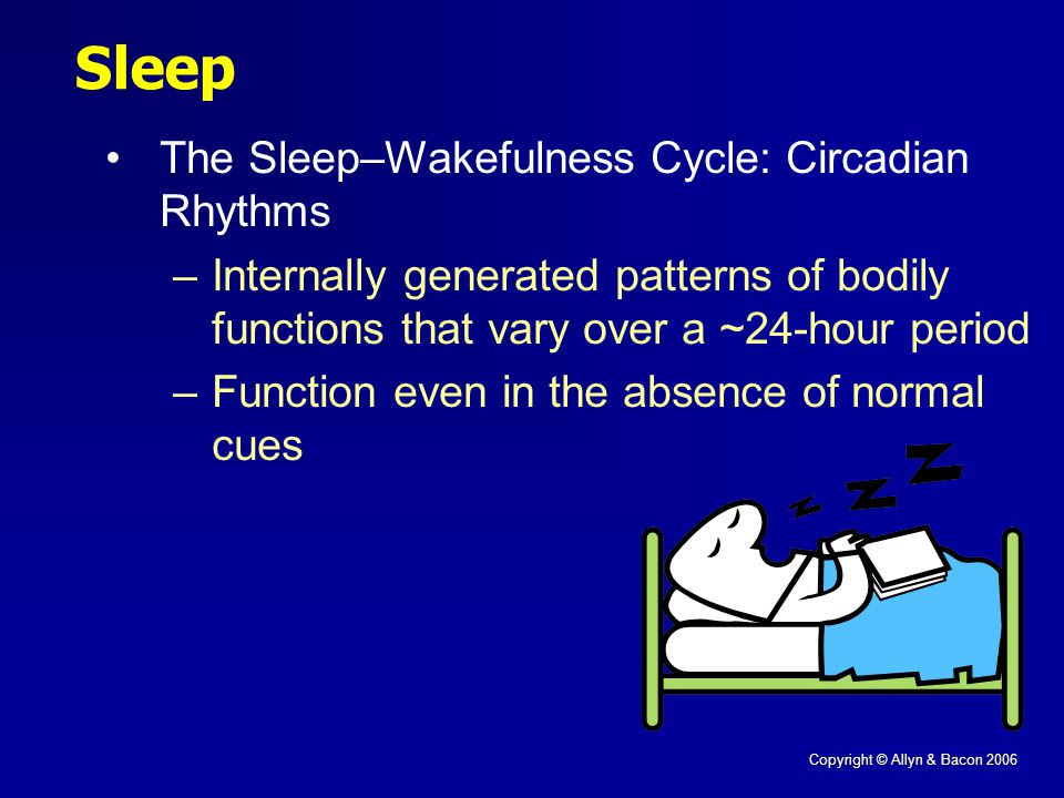 Copyright © Allyn & Bacon 2006 Sleep The Sleep–Wakefulness Cycle: Circadian Rhythms –Internally generated patterns of bodily functions that vary over a ~24-hour period –Function even in the absence of normal cues