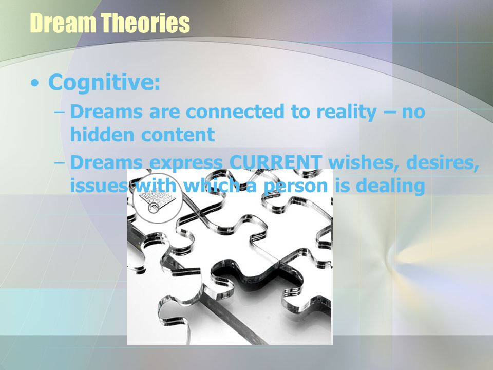 Dream Theories Cognitive: –Dreams are connected to reality – no hidden content –Dreams express CURRENT wishes, desires, issues with which a person is