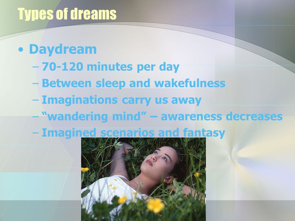 "Types of dreams Daydream –70-120 minutes per day –Between sleep and wakefulness –Imaginations carry us away –""wandering mind"" – awareness decreases –I"