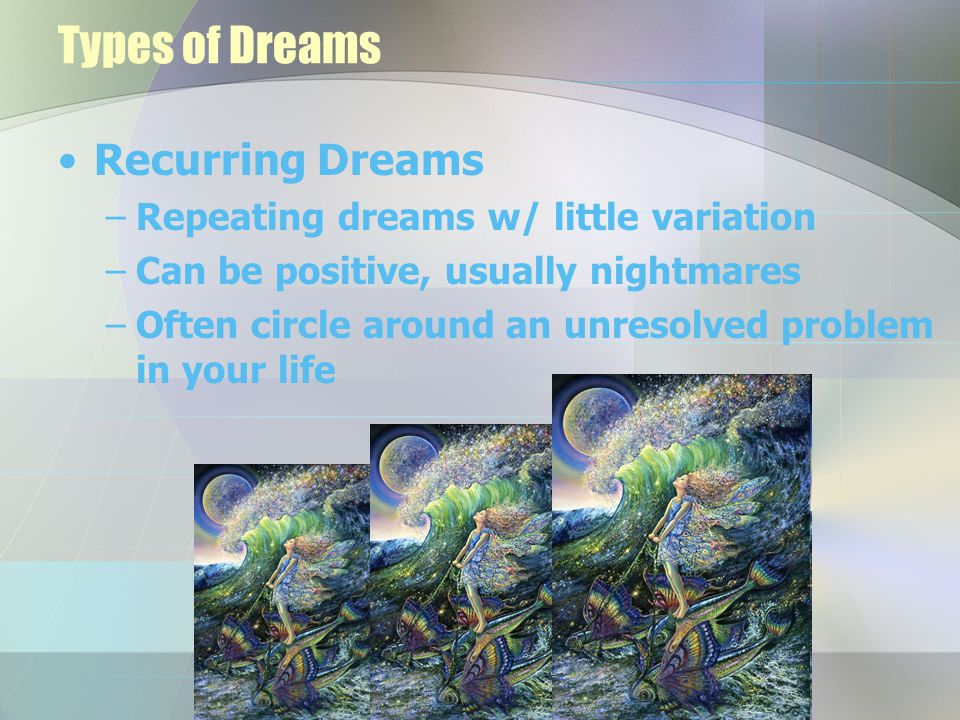 Types of Dreams Recurring Dreams –Repeating dreams w/ little variation –Can be positive, usually nightmares –Often circle around an unresolved problem in your life
