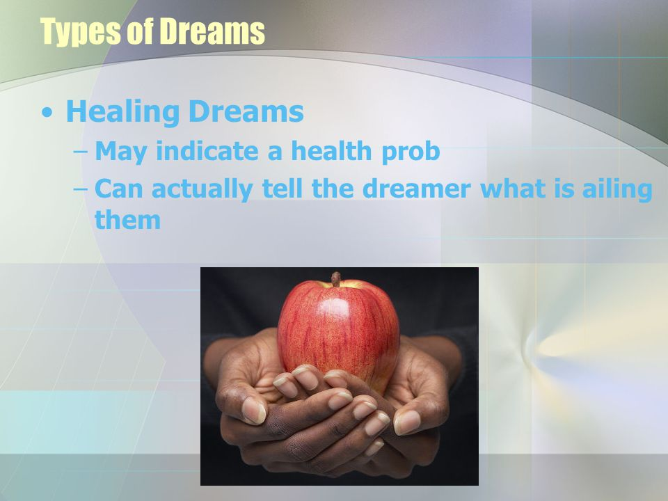Analyzing a Dream Write it down immediately –50% gone after 5 minutes –90% gone after 10 minutes Determine Dream Theme or Concept –What is the main theme –What is the big picture –Take away details, names, things, places and leave only the action