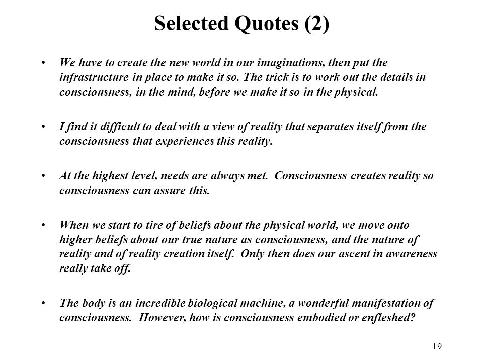 19 Selected Quotes (2) We have to create the new world in our imaginations, then put the infrastructure in place to make it so.