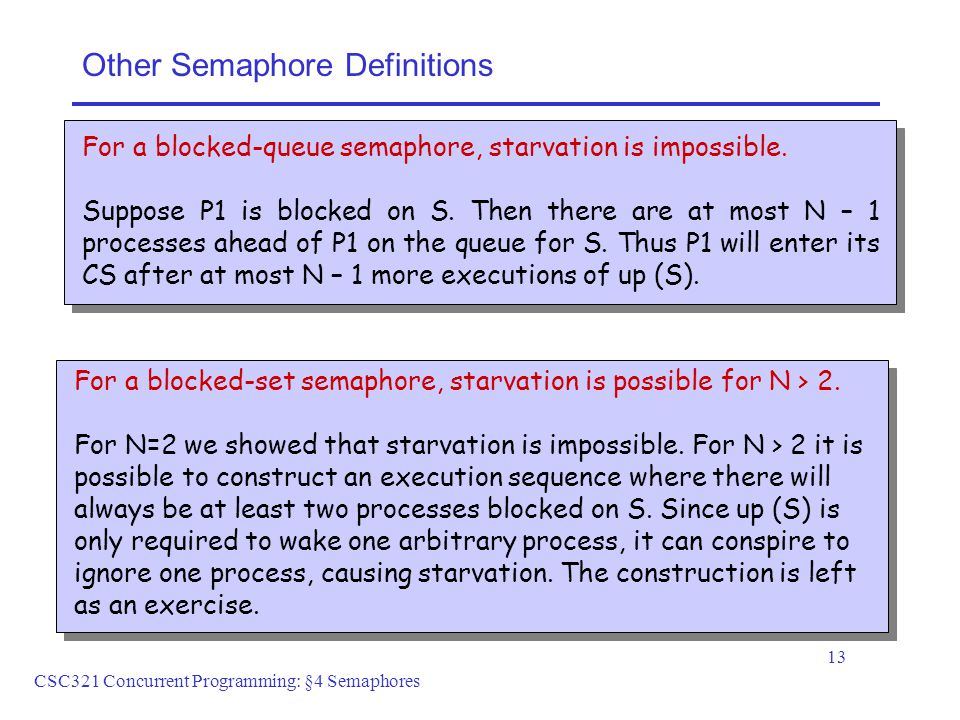 CSC321 Concurrent Programming: §4 Semaphores 13 Other Semaphore Definitions For a blocked-queue semaphore, starvation is impossible.