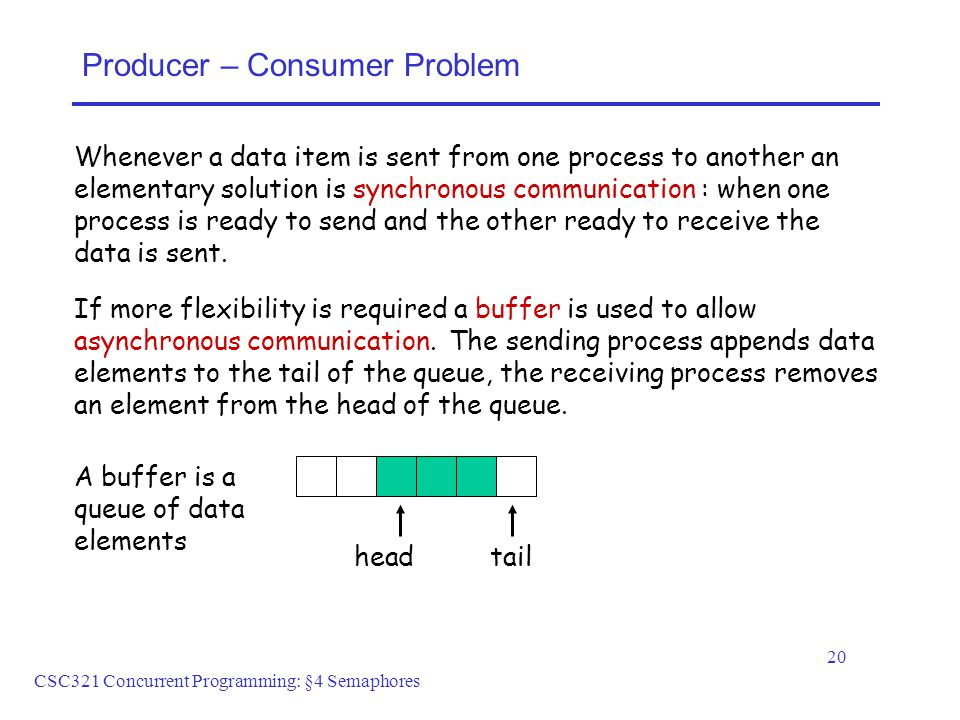 CSC321 Concurrent Programming: §4 Semaphores 20 Producer – Consumer Problem Whenever a data item is sent from one process to another an elementary solution is synchronous communication : when one process is ready to send and the other ready to receive the data is sent.