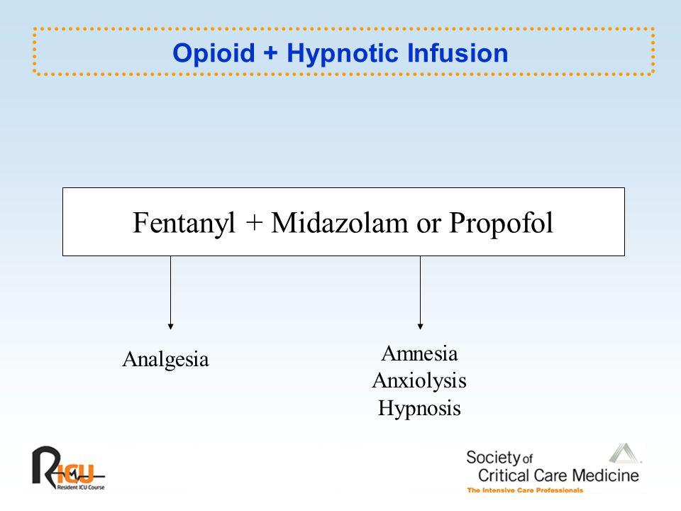 Opioid + Hypnotic Infusion Fentanyl + Midazolam or Propofol Analgesia Amnesia Anxiolysis Hypnosis