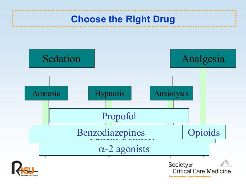 Choose the Right Drug SedationAnalgesia AmnesiaAnxiolysisHypnosis Propofol Patient Comfort Benzodiazepines  -2 agonists Opioids